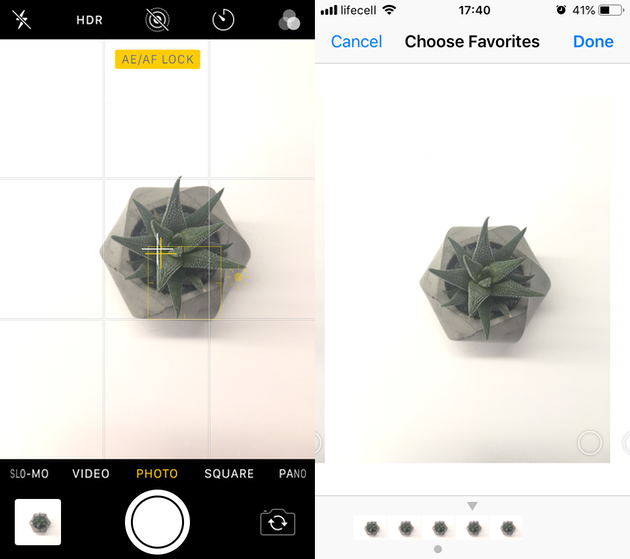 Screenshots: iPhone Burst mode setting