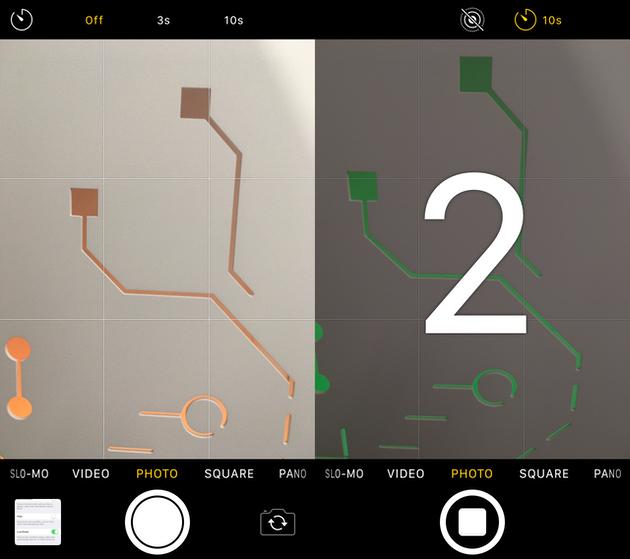 لقطات الشاشة: إعداد المؤقت في كاميرا iPhone