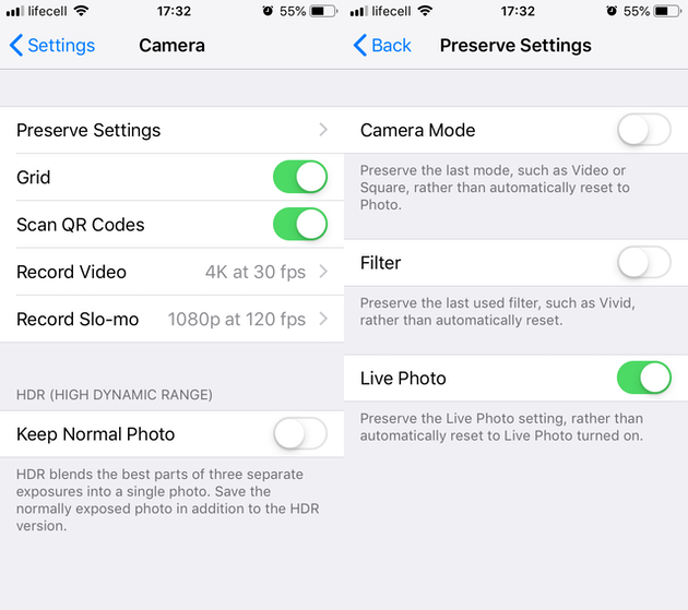 Screenshots: iPhone Camera settings
