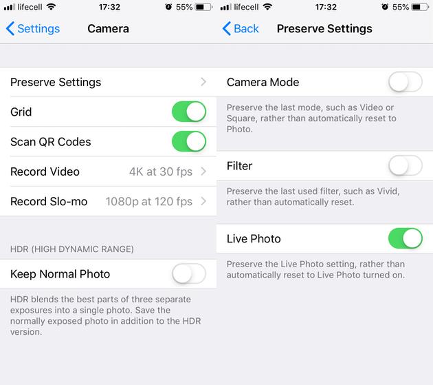 Screenshots: iPhone Camera settings