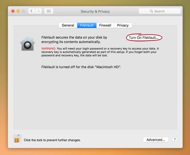 Encrypt data with FileVault