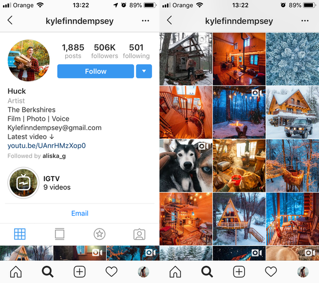 Screenshots of an Instagram theme by @kylefinndempsey
