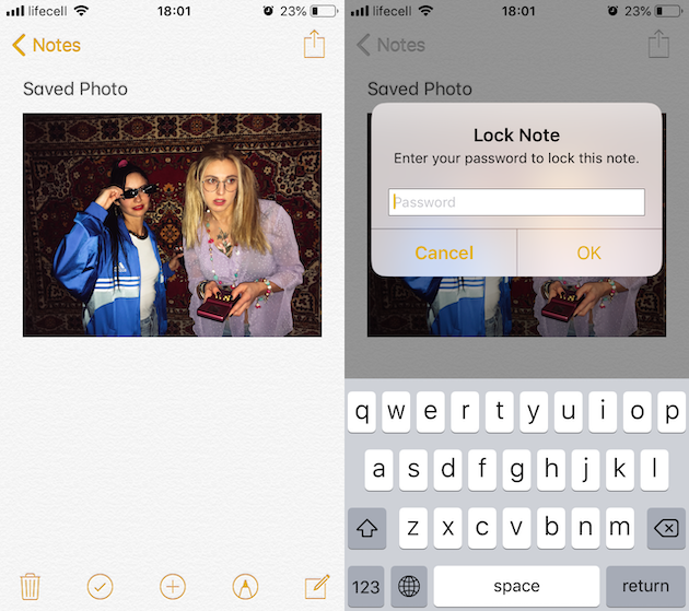 How to lock an iPhone photo in Notes