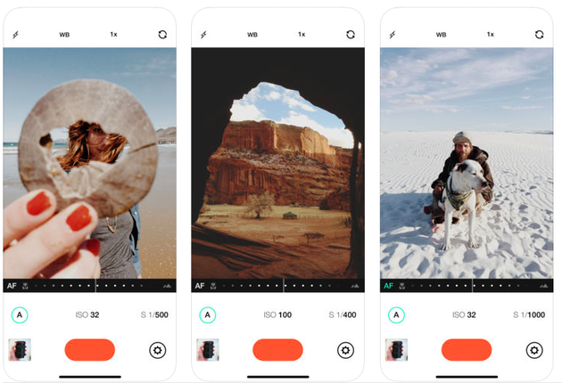 Screenshots of Manual, an iPhone camera app