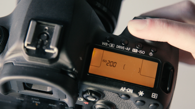 Photo of DSLR camera settings in manual mode