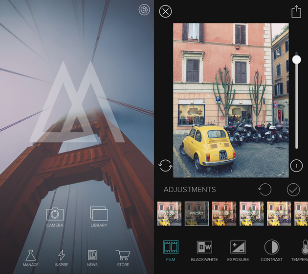 Screenshots of Mextures, a photo effects app for iPhone
