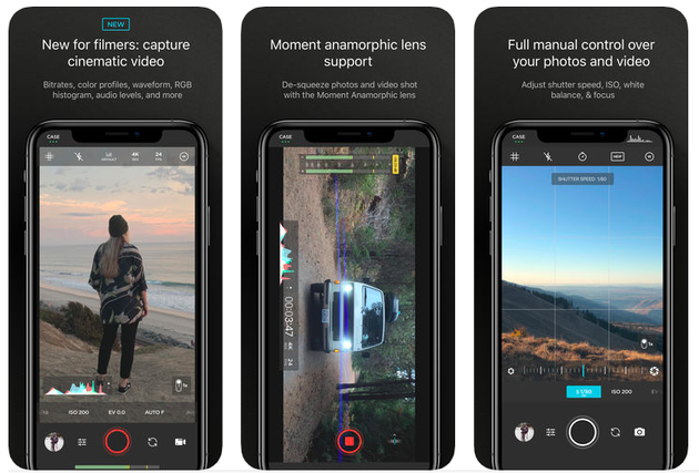Screenshots of Moment, a powerful iPhone camera app