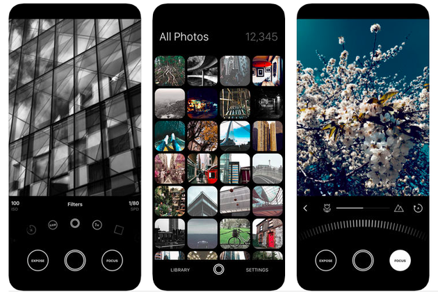 Screenshots of Obscura 2, a minimalist iPhone camera app