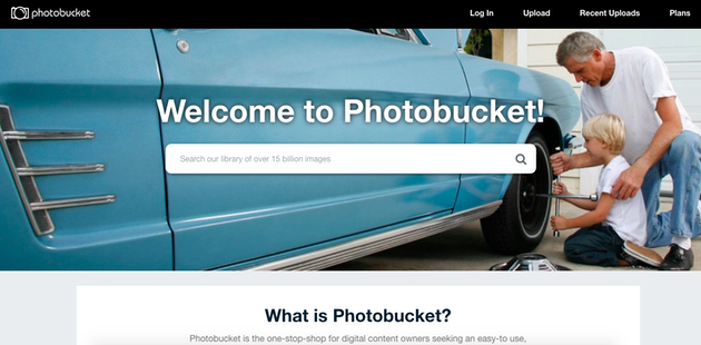 Screenshot of Photobucket, a photo sharing site