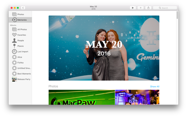 Screenshot of Photos, a native photo manager in macOS
