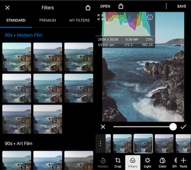 Screenshots of Polarr, a photo filter app for iPhone