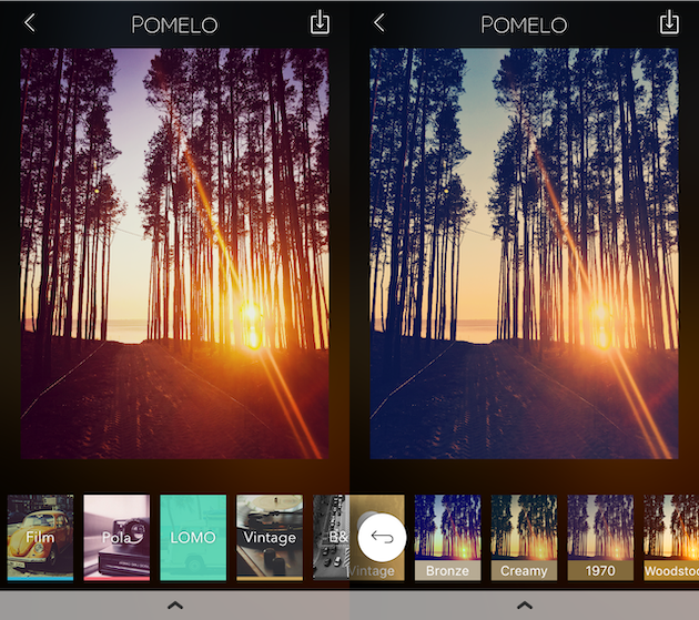 Screenshots of Pomelo, a filter app for iPhone