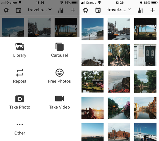 Screenshots of Preview, and Instagram feed organizer