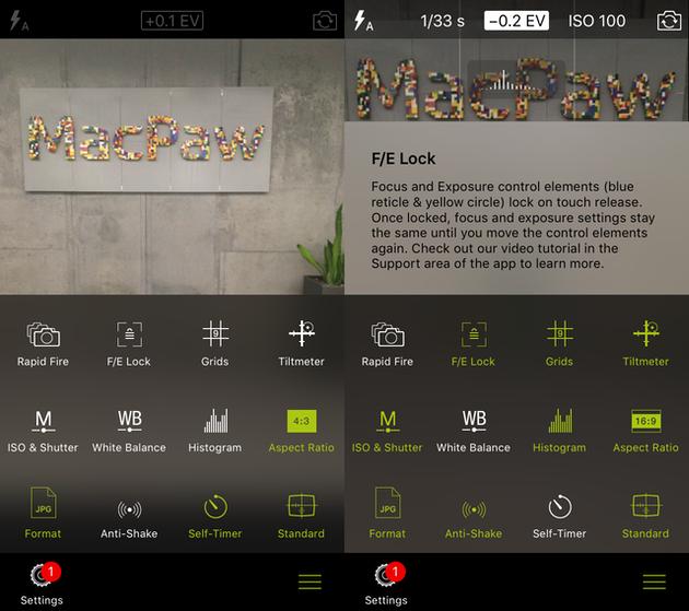 Screenshots of ProCamera, an iPhone camera app