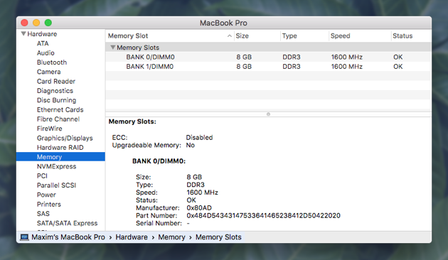 How much RAM a Mac has