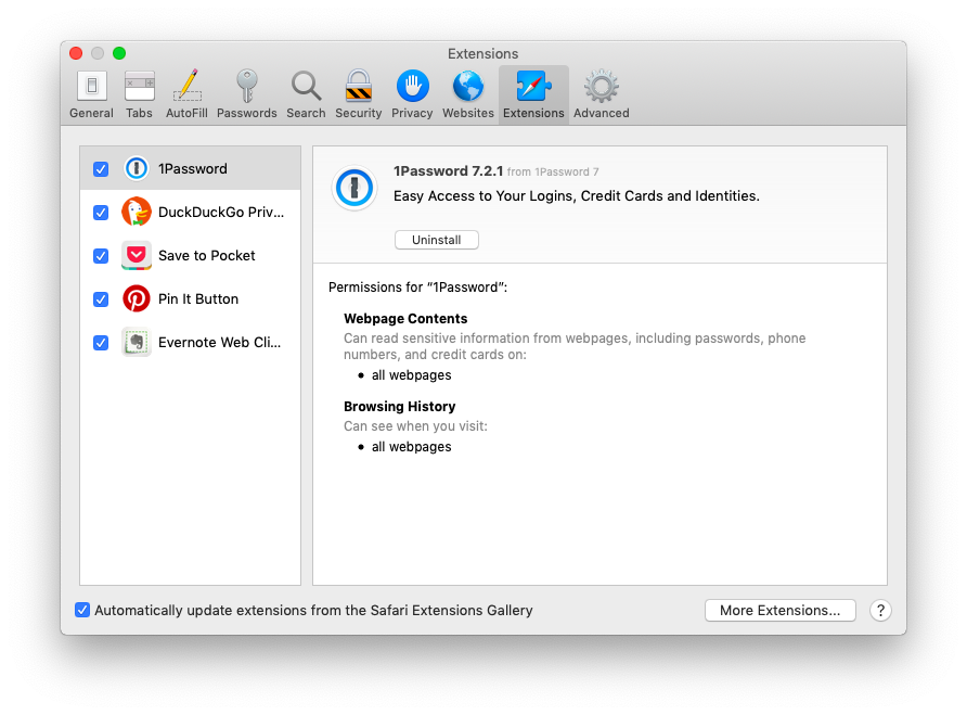 How to remove extensions in Safari