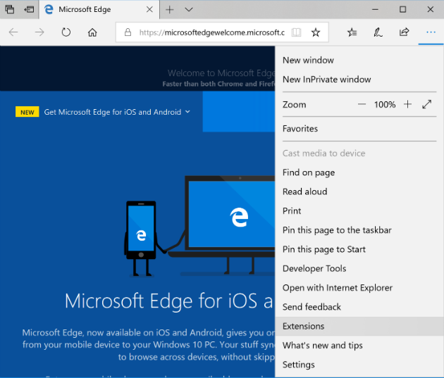 remove Microsoft Edge extensions