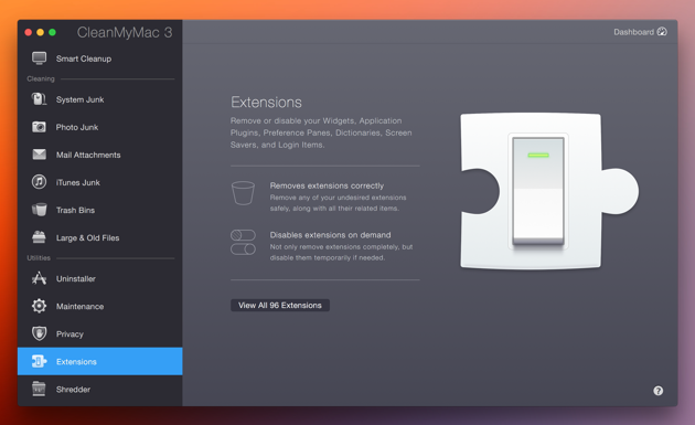 Check and edit extensions with CleanMyMac