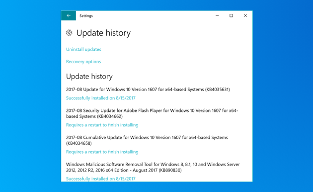 Choose The Updates That Failed To Install And Uninstall Link
