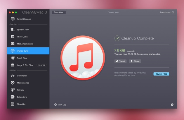 A quick scan iTunes for junk files from CleanMyMac