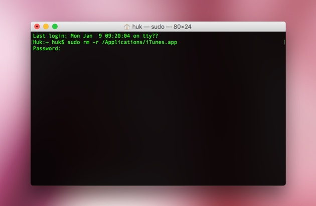 Reset iTunes with Terminal utility