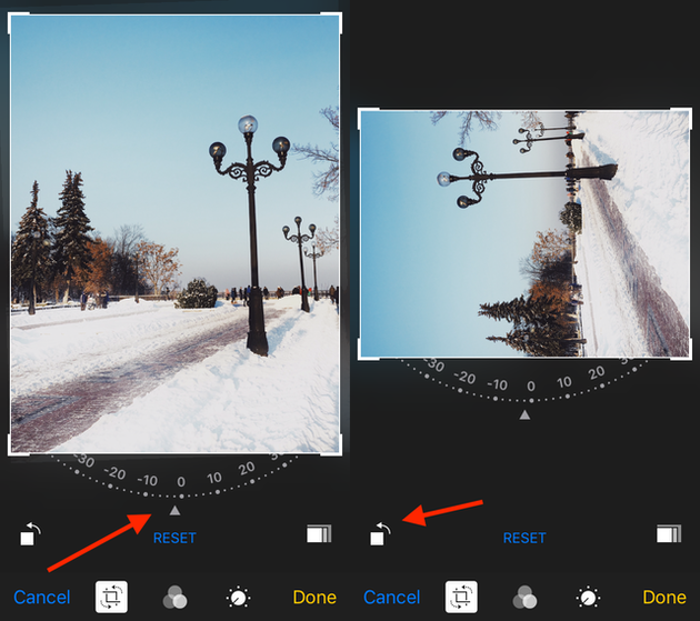Screenshots: How to rotate a photo on iPhone