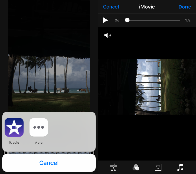 Screenshots: How to rotate an iPhone video in iMovie