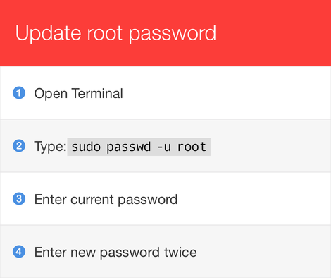 Problem root password macOS High Sierra