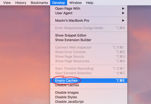 How to empty cache in Safari browser manually
