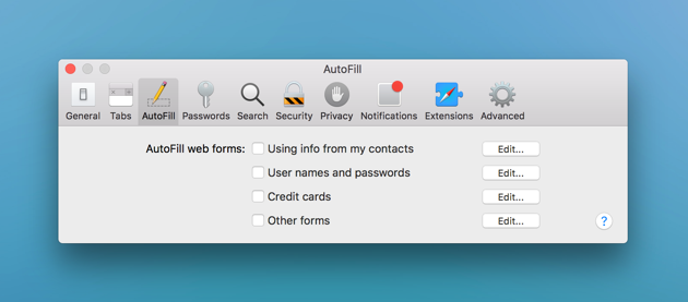 Cleanup autofill forms in Safari manually