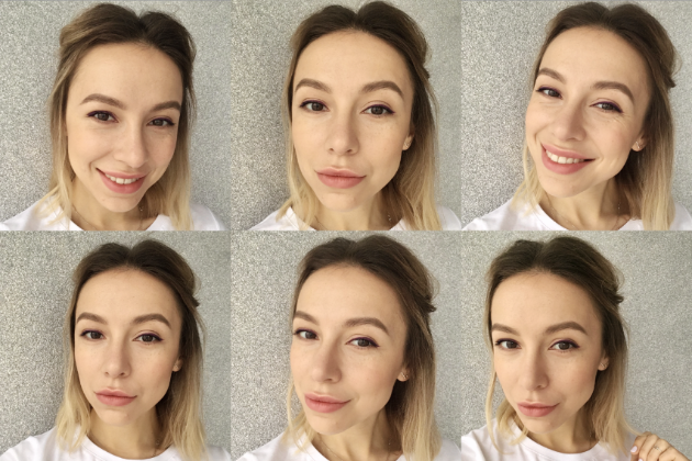 Multiple selfies in different poses and from different angles