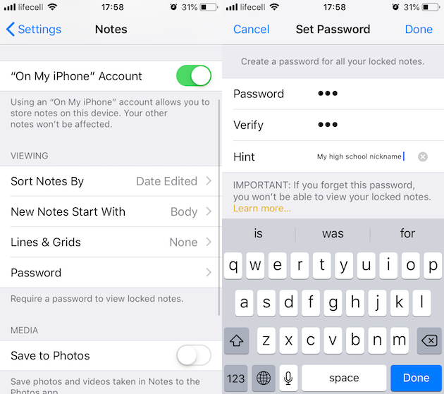 password protect photo on iphone