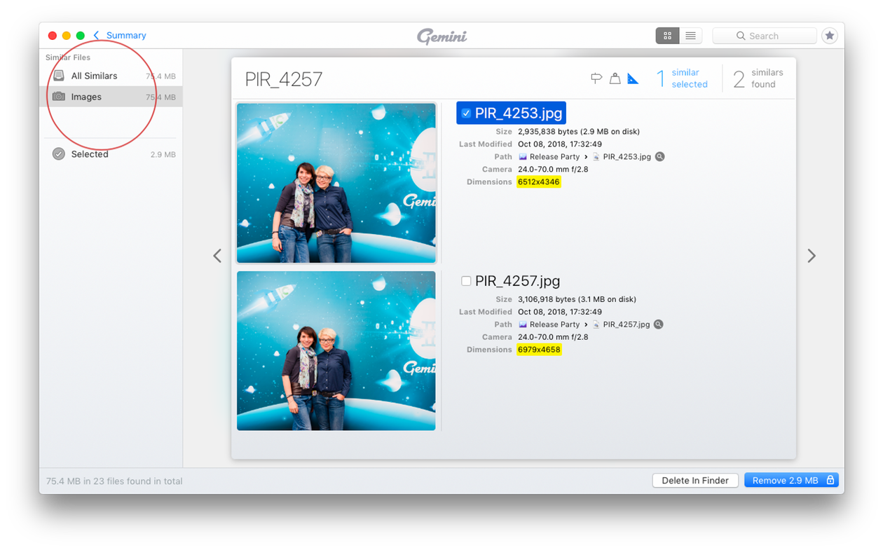Screenshot: Dealing with similar photos in Gemini 2, The Duplicate Photo Cleaner for Mac