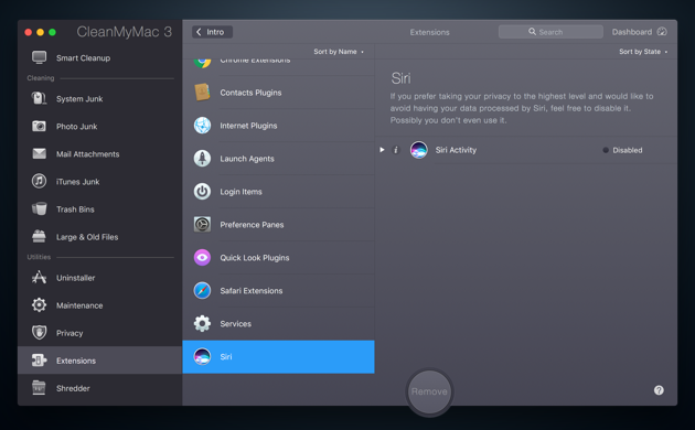 Configure Siri in CleanMyMac