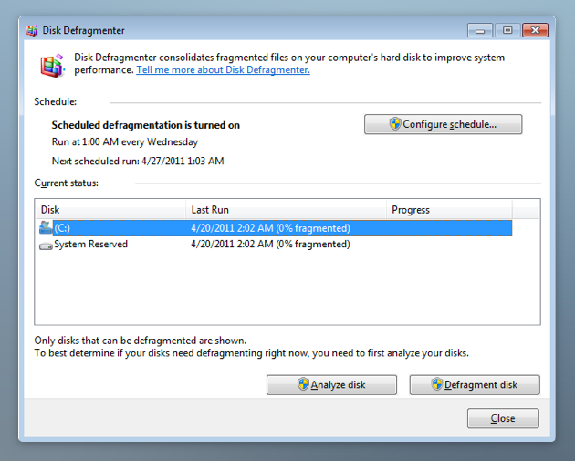 Disk defragmenter helps speed up your PC