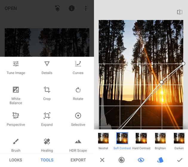 SCreenshots of Snapseed, the best free photo editor for iPhone