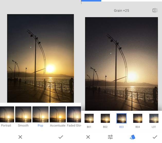 SCreenshots of Snapseed, a free photo effects app