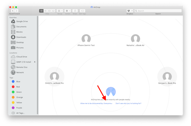 Screenshot: Switching on AirDrop on Mac to transfer photos