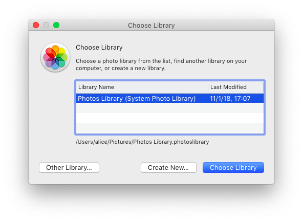 How to switch between several Photos libraries: Screenshot
