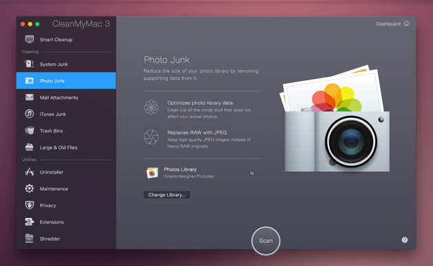 clean up Photos cache files with CleanMyMac