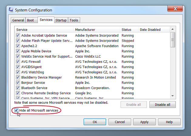 System Configuration allows you hide all Microsoft services to safety remove useless startup items
