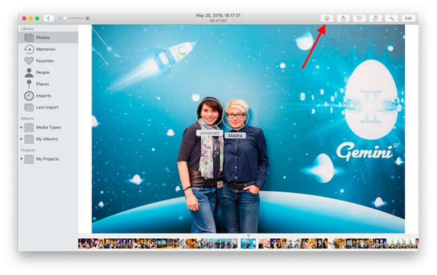 Screenshot: How to tag people in the Photos app for Mac
