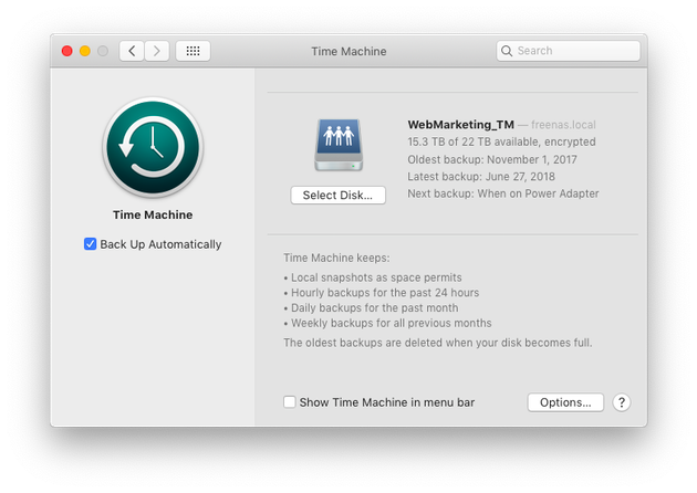 Screenshot: How to back up photos using Time Machine