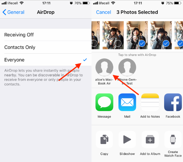 Screenshot: How to download iPhone pictures to a Mac with AirDrop