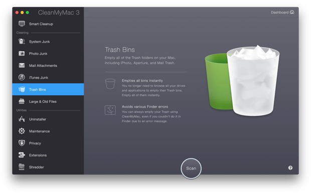 Clear Trash Bins on Mac OS X with Trash Cleaner App