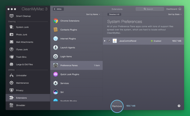 Clean Preferences with CleanMyMac app