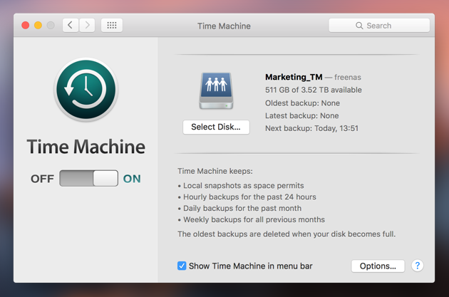 Backup your data with Time Machine