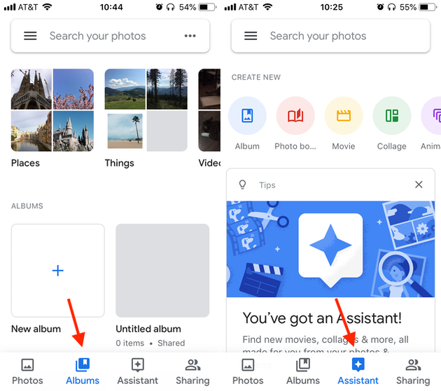 Screenshots: Albums and Assistant tabs in Google Photos on iPhone