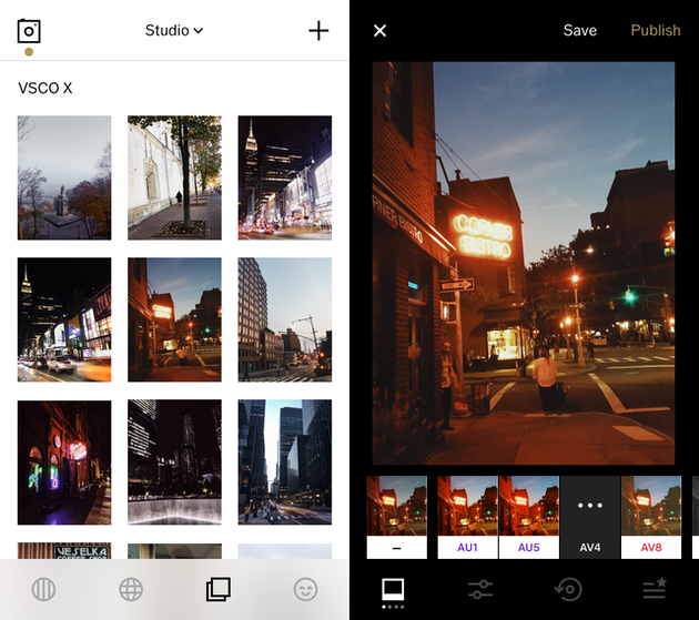SCreenshots of VSCO, the best iOS photo editor