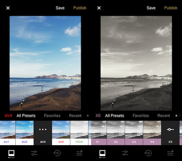 Screenshots of VSCO, a popular iPhone filters app